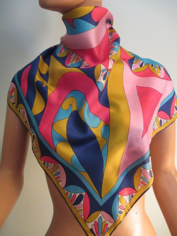 Vintage 1960s Sally Gee Mod Silk Scarf Colorful Pucci Inspired