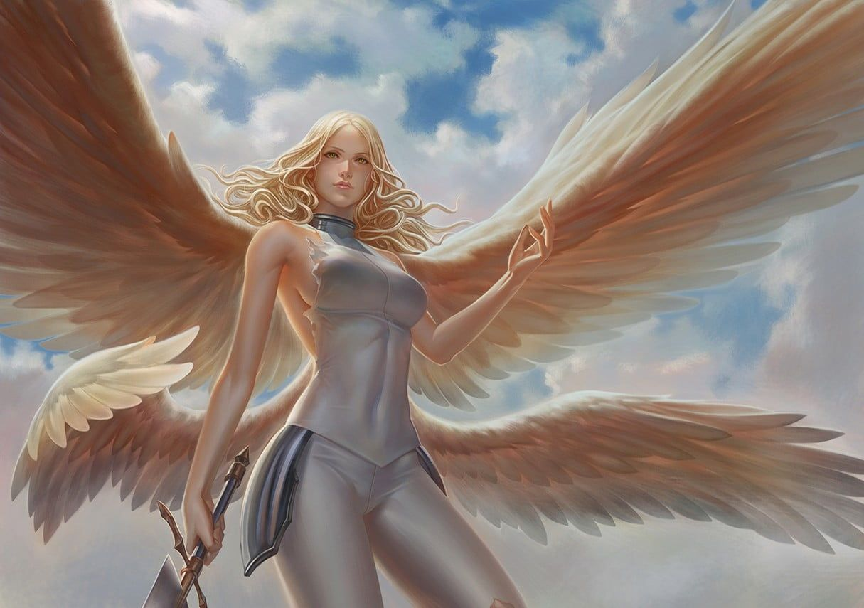 Angel Holding Sword Game Character Teresa Digital Art Claymore Anime Wings Sword Fantasy Girl Warrior 480p Wallpap Anjos Arte Fantasia Anjos E Demonios