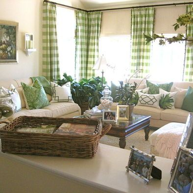 Buffalo Check Curtains Design Ideas Pictures Remodel And Decor Traditional Design Living Room Living Room Green Traditional Living Room