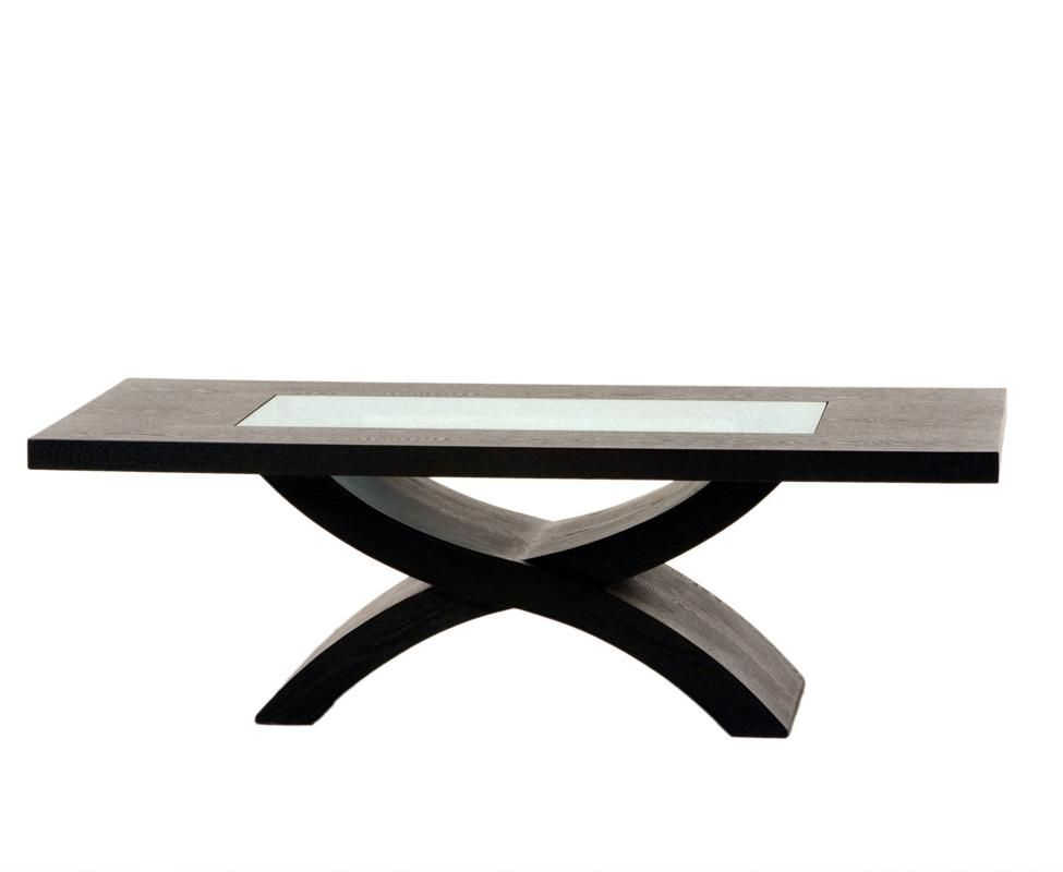 Rectangle Cocktail Table With Crackled Glass Inset And X Shaped Base