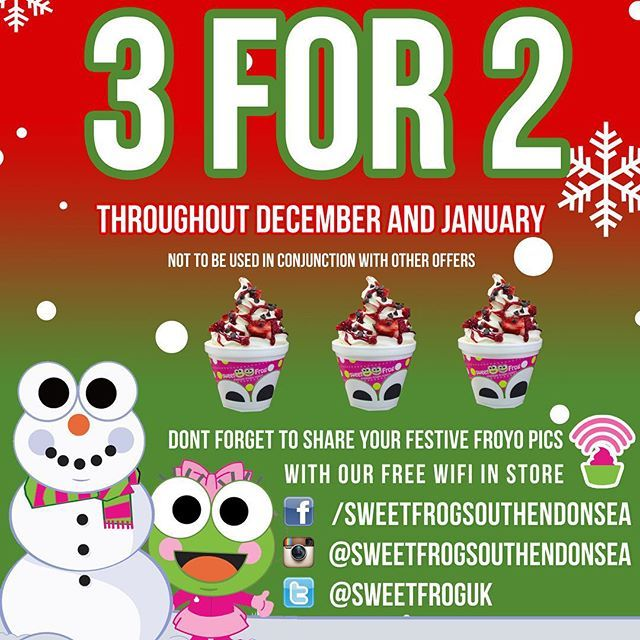 """@sweetfrogsouthendonsea's photo: """"#offer #3for2 #xmas #holidays #christmas #frozenyogurt #sweetfrog #december #southend"""""""