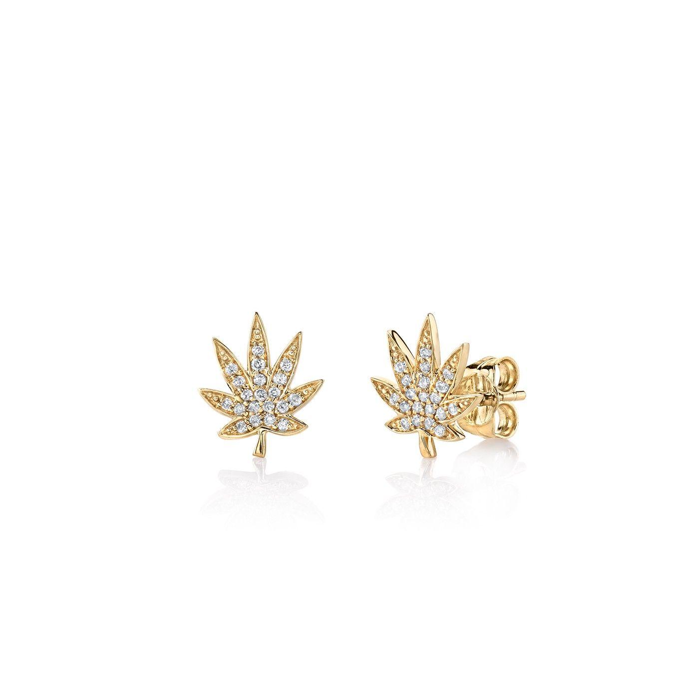Small Yellow-Gold Pavé Diamond Pot Leaf Stud Earrings | #Want ...