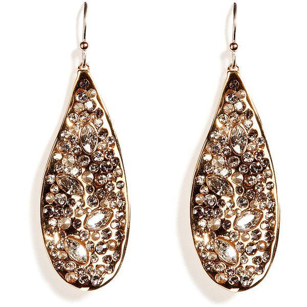 ALEXIS BITTAR Gold And Crystal Encrusted Teardrop Earrings ...