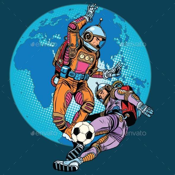 Football Soccer Match Astronauts Play Soccer Drawing Soccer Match Soccer Art