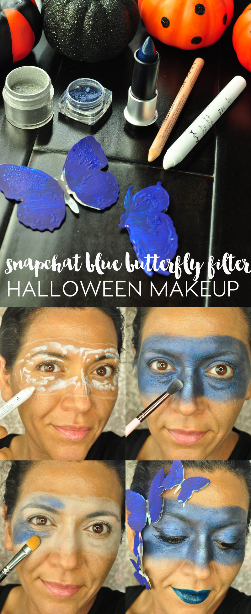 Snapchat Blue Butterfly Filter Halloween Makeup Tutorial