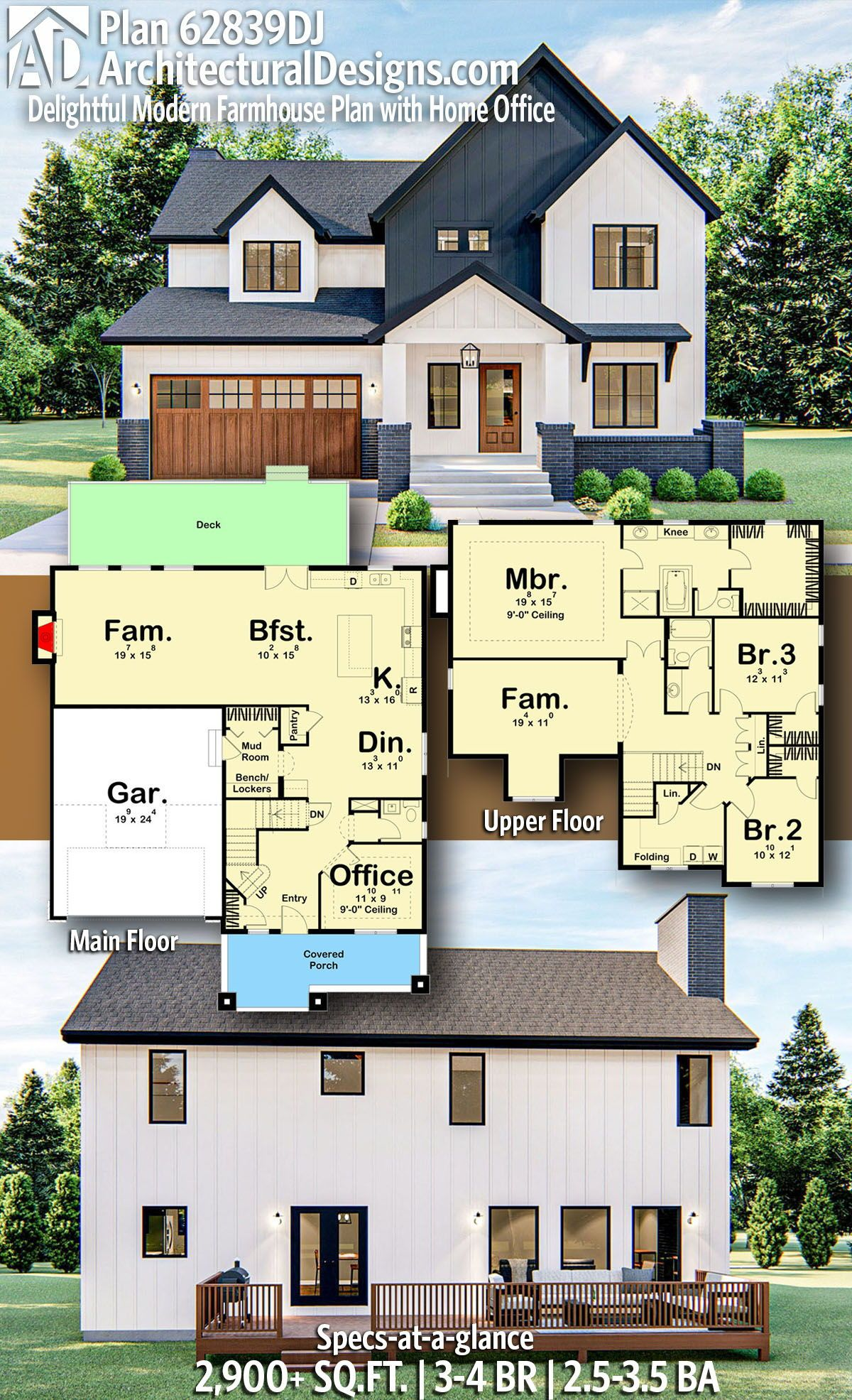 Plan 62839dj Delightful Modern Farmhouse Plan With Home Office In 2020 Modern Farmhouse Plans Farmhouse Plans Sims House Plans