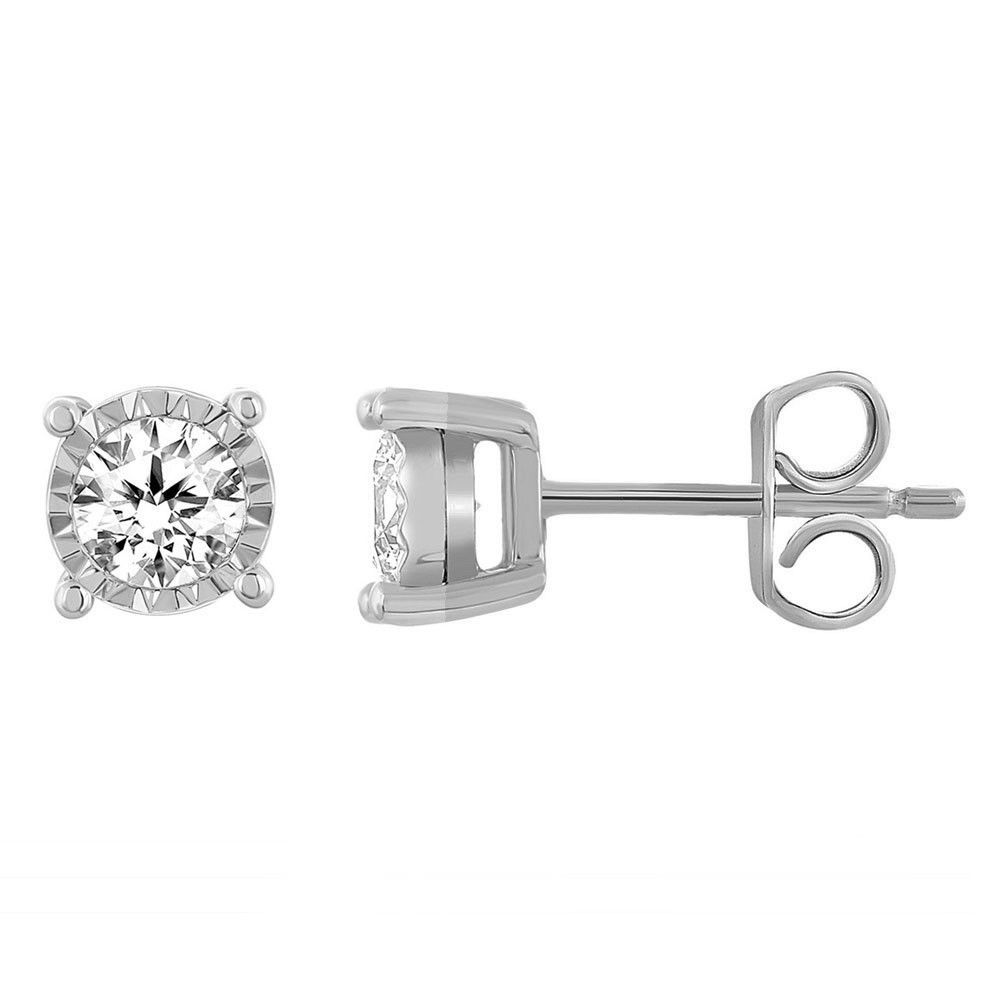 10k White Gold 1 10 Carat Natural Round Diamond 4 Prong Stud Earrings Valentine Caratsfor Diamond Earrings Studs Round Stud Earrings Princess Diamond Earrings