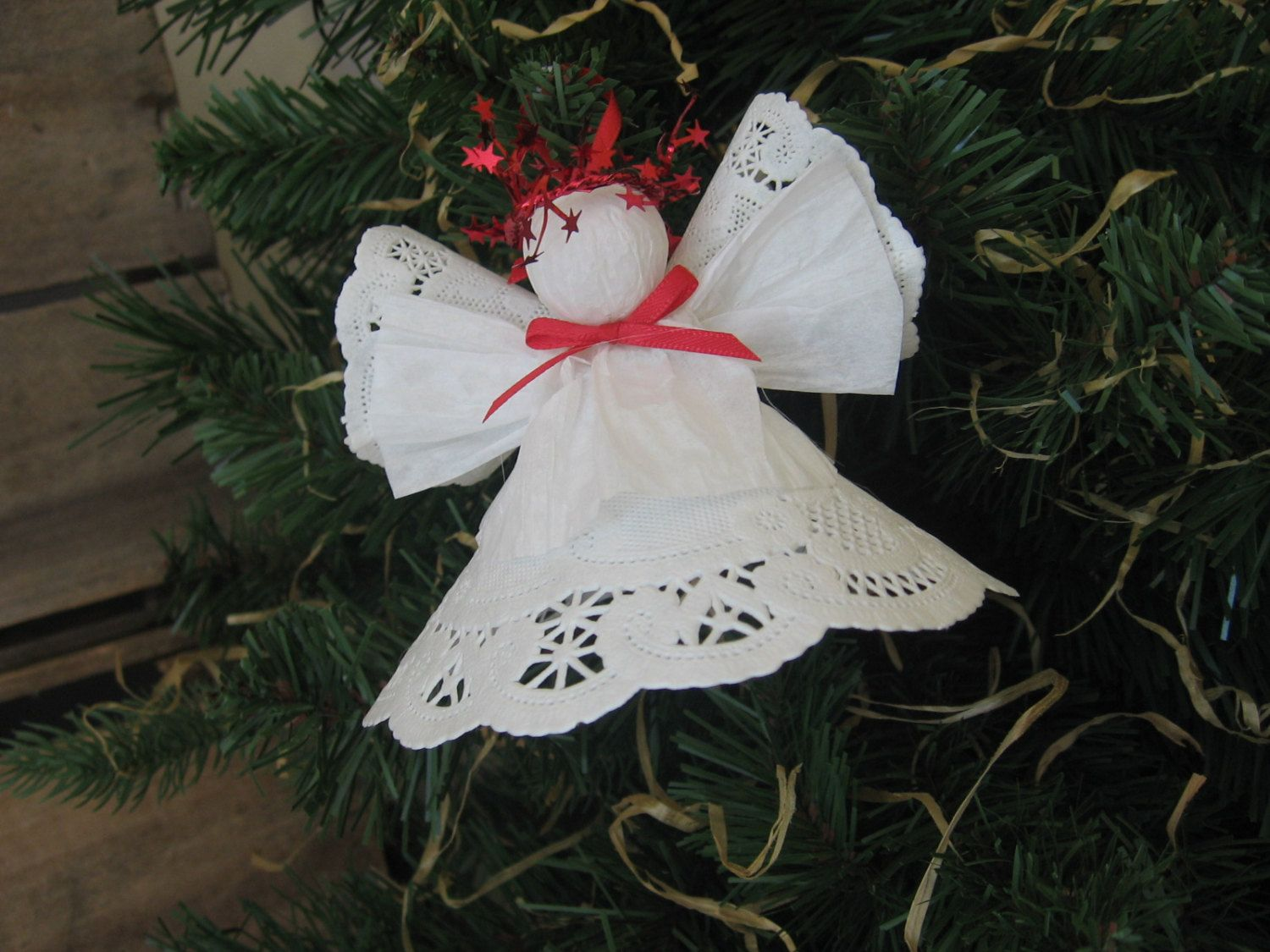 Bon White Paper Doily Angel Ornament Red Trimmed White Christmas Angel  SnowNoseCrafts (4.00 USD) By