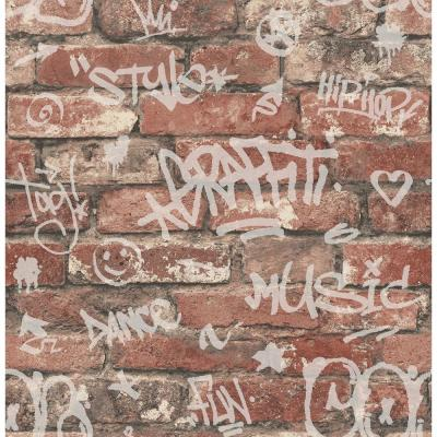 Nextwall Distressed Red Brick Peel And Stick Wallpaper Nw31700 The Home Depot Brick Wallpaper Brewster Wallpaper Red Brick Wallpaper