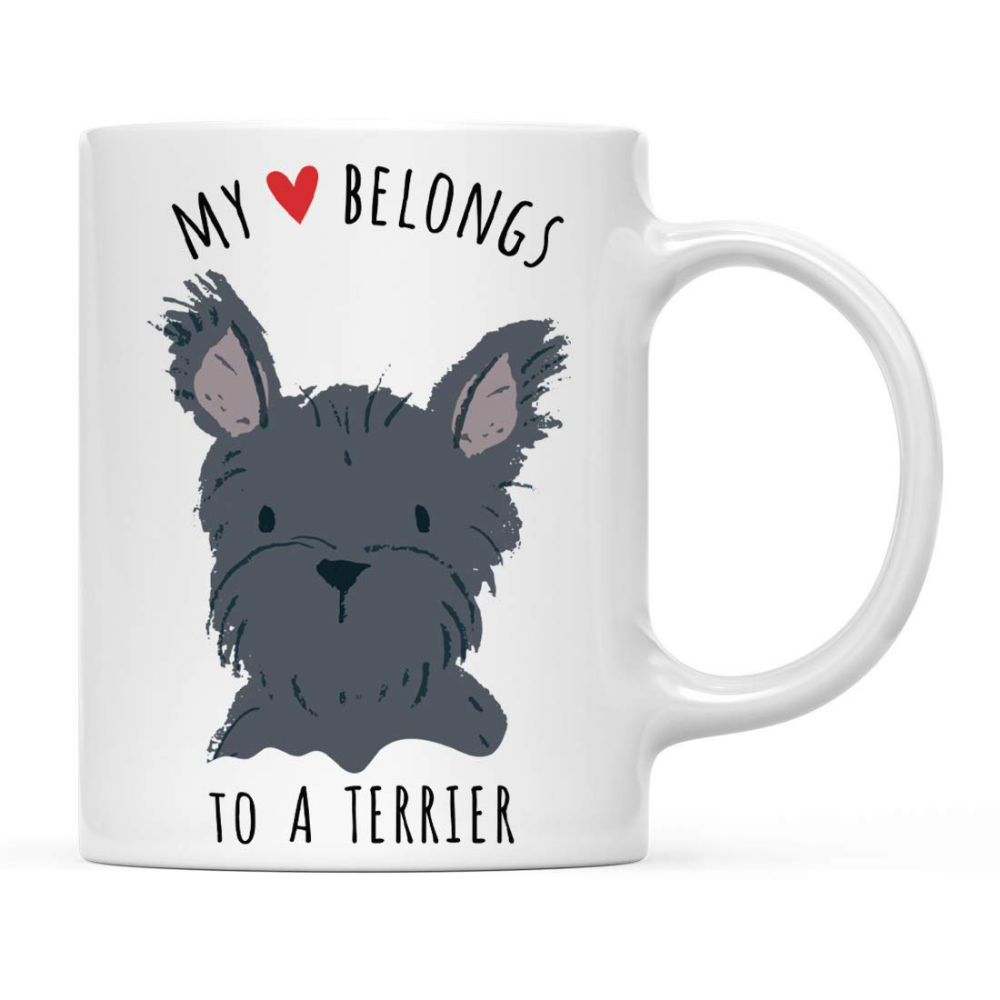 Amazon Com Andaz Press Funny Dog 11oz Coffee Mug Gift My Heart Belongs To A Black Terrier Dog 1 Pack Novelty Birthday Christmas Cup Gifts Ideas Fo With Images Cup Gifts