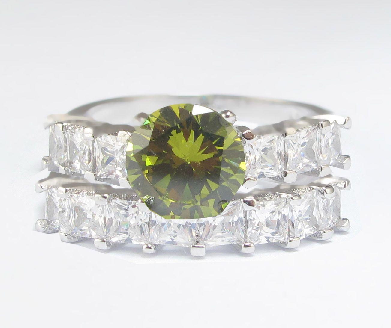 Fashion Green Peridot Birthstone 925 Silver Filled Wedding Bridal Ring Set Gift
