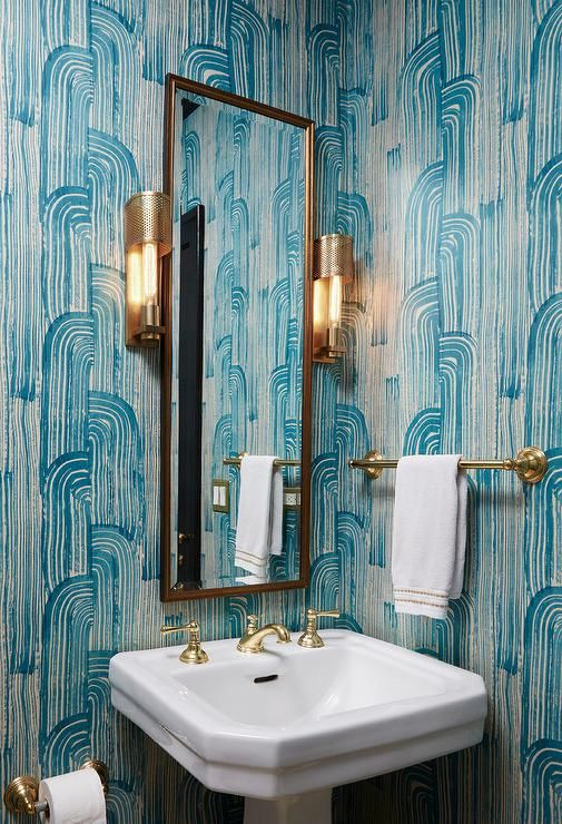 Blue Powder Room With Brass Towel Holder   Contemporary   Bathroom