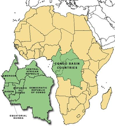 africa map with congo basin