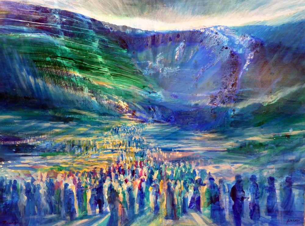 Crossing the Sea Fine Art Print by Yoram Raanan | Biblical art, Art,  Spiritual art