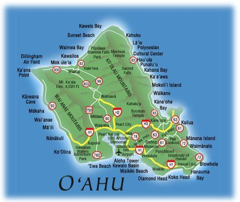 Hawaiian Islands Oahu  Map of hawaii  the Hawaiian island of