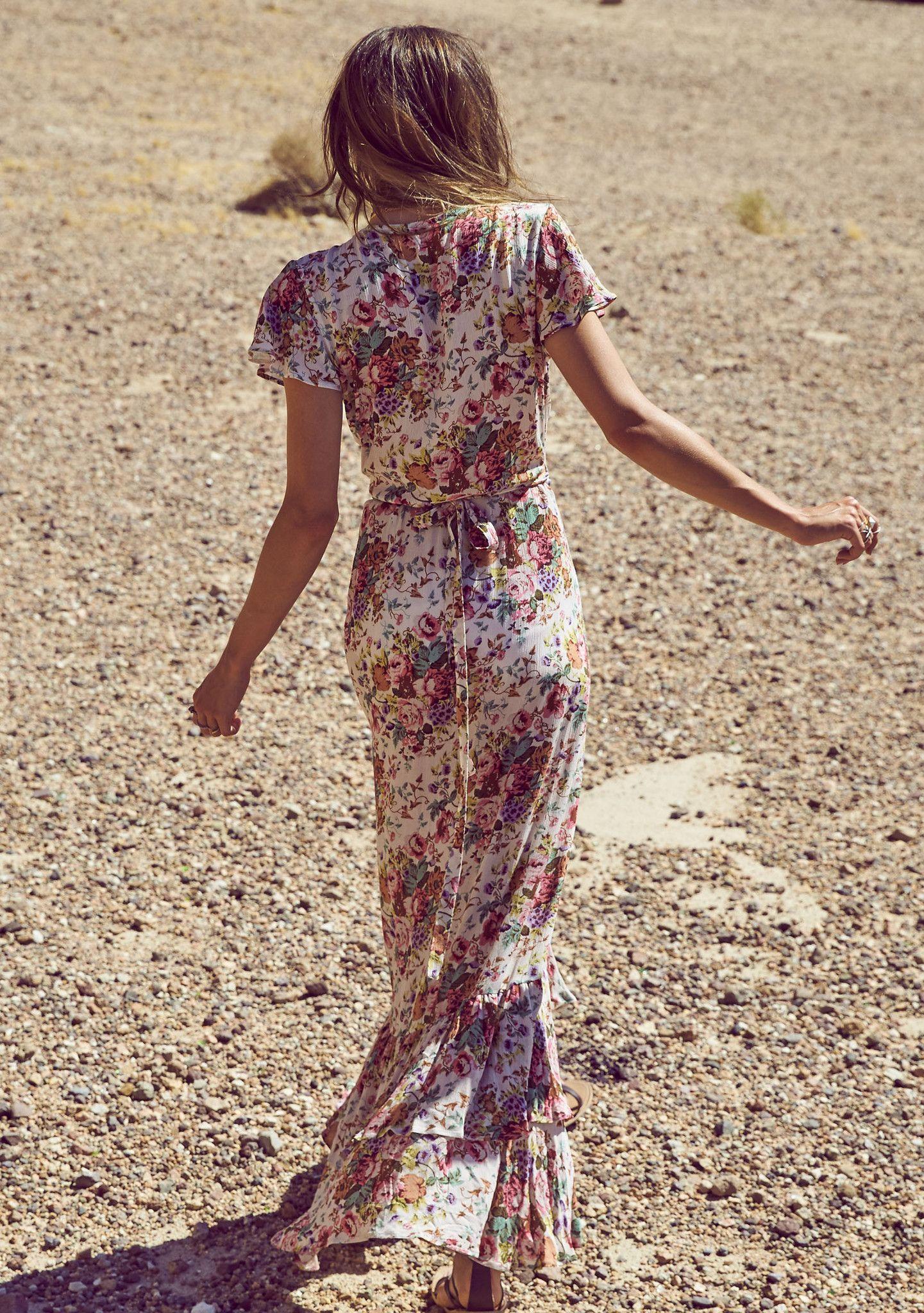 Beach House Frill Wrap Maxi Dress Longbeach Floral Natural