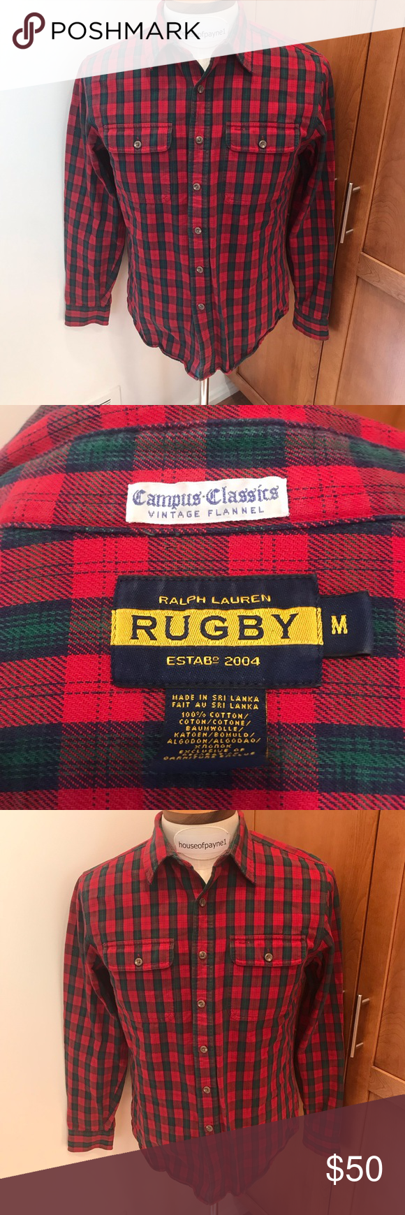 Ralph Lauren Rugby Collection M Flannel Red Ralph Lauren Rugby Collection Rn 41381 Vintage Flannel Medium M Vintage Flannel Casual Button Down Shirts Flannel
