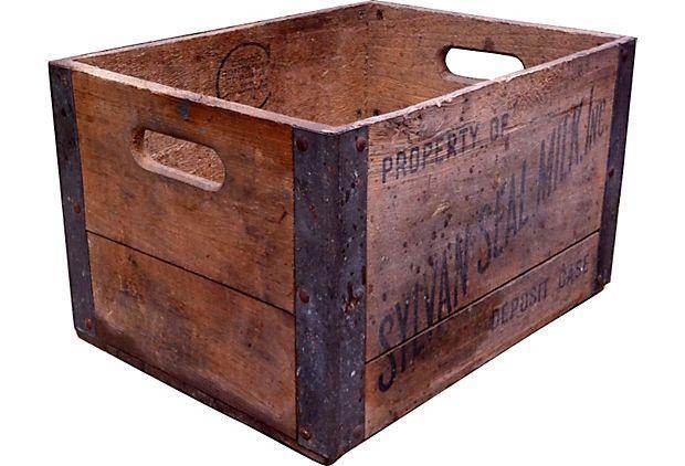 Vintage Wooden Sylvan Seal Milk Crate Lp Record Storage