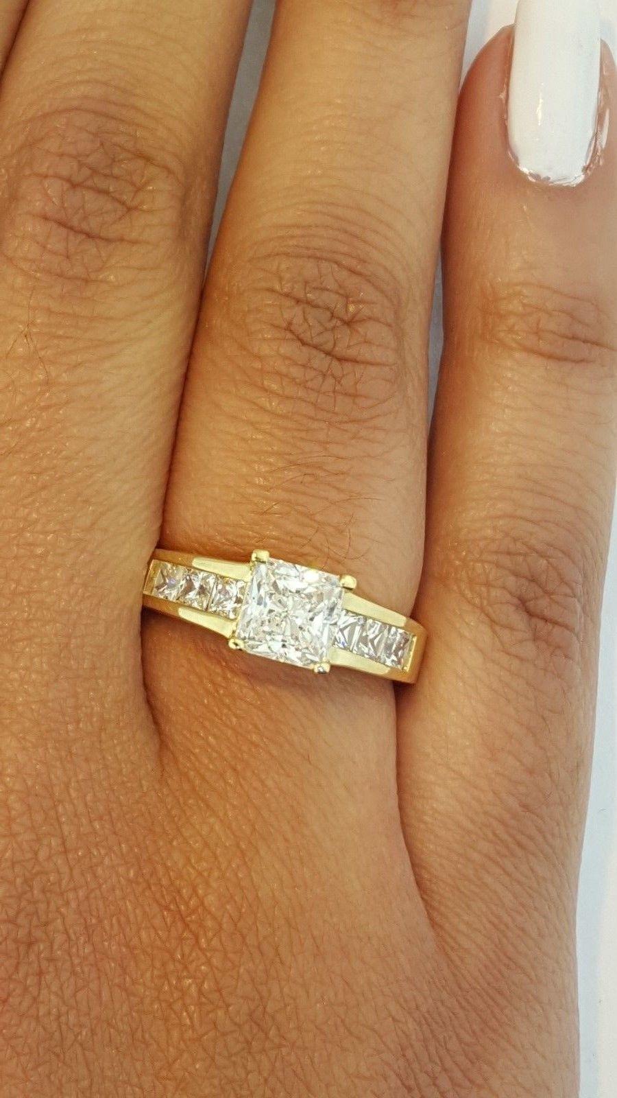 14K Yellow Gold Princess Channel Set 175 Ct Diamond Engagement Wedding Ring