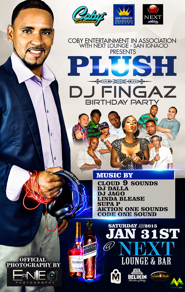 Flyer Design Name PLUSH Dj Fingaz Birthday Party Place Princess Casino San