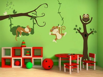 Nice Funny Monkey Animals Cartoon Wall Stickers Decals Designs For Kids Bedroom  Wall Decorating Ideas