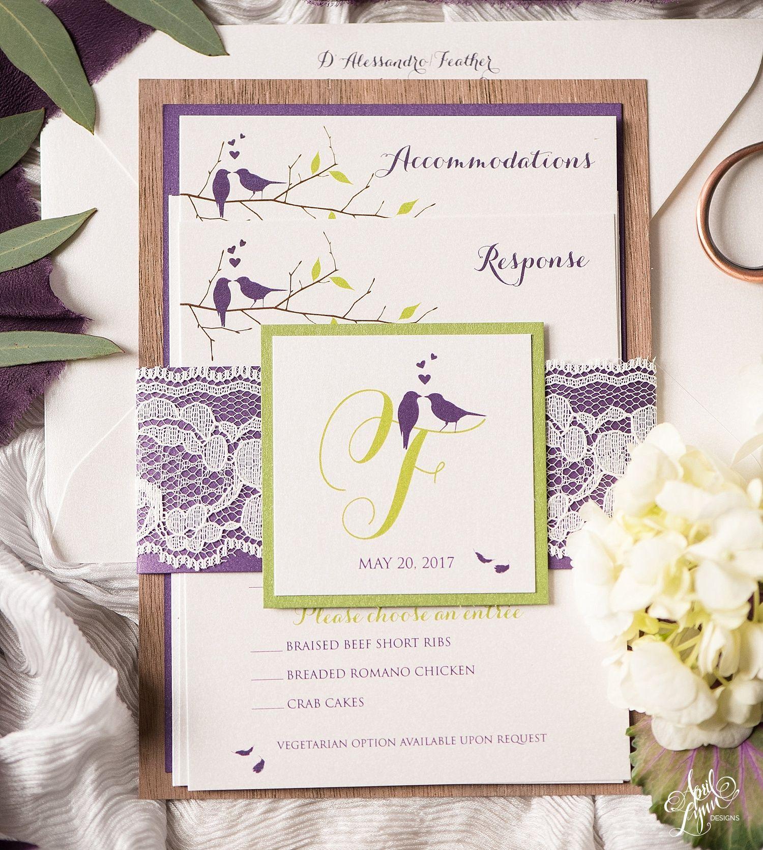 Angela John S Rustic Love Birds Wedding Invitation Suite Bird Wedding Invitations Unique Wedding Invitation Wording Wedding Invitations