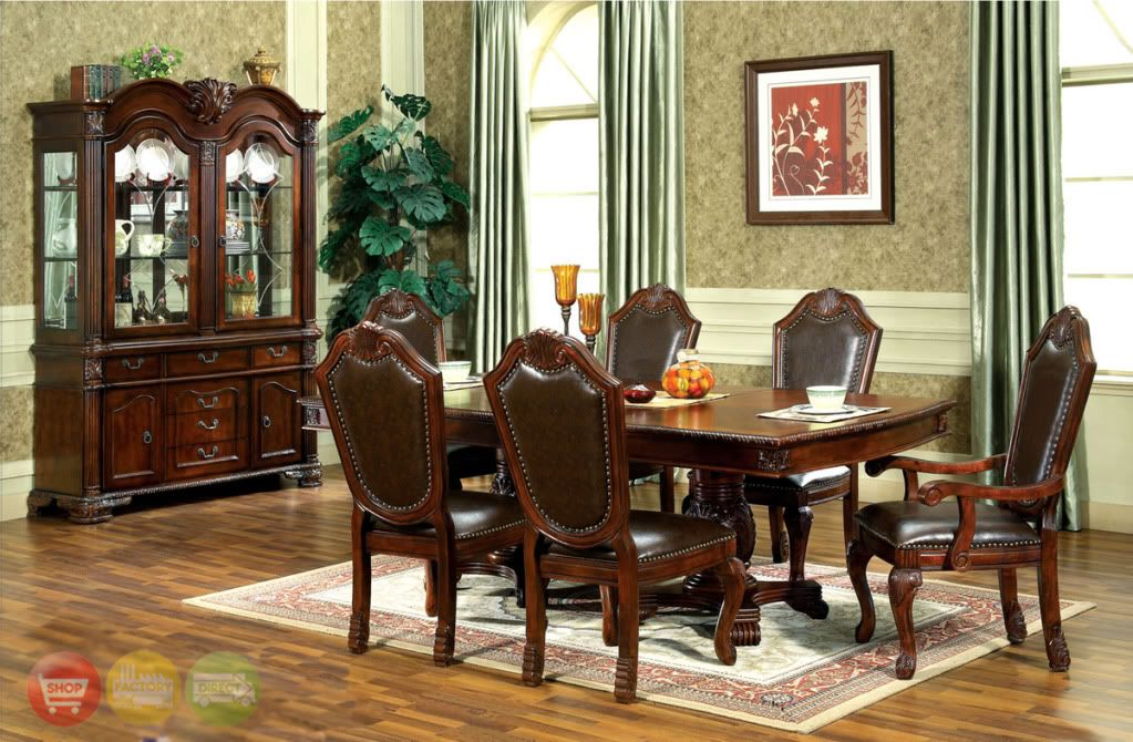 Chateau Traditional 9 Piece Formal Dining Room Set Table Chairs China Cabinet