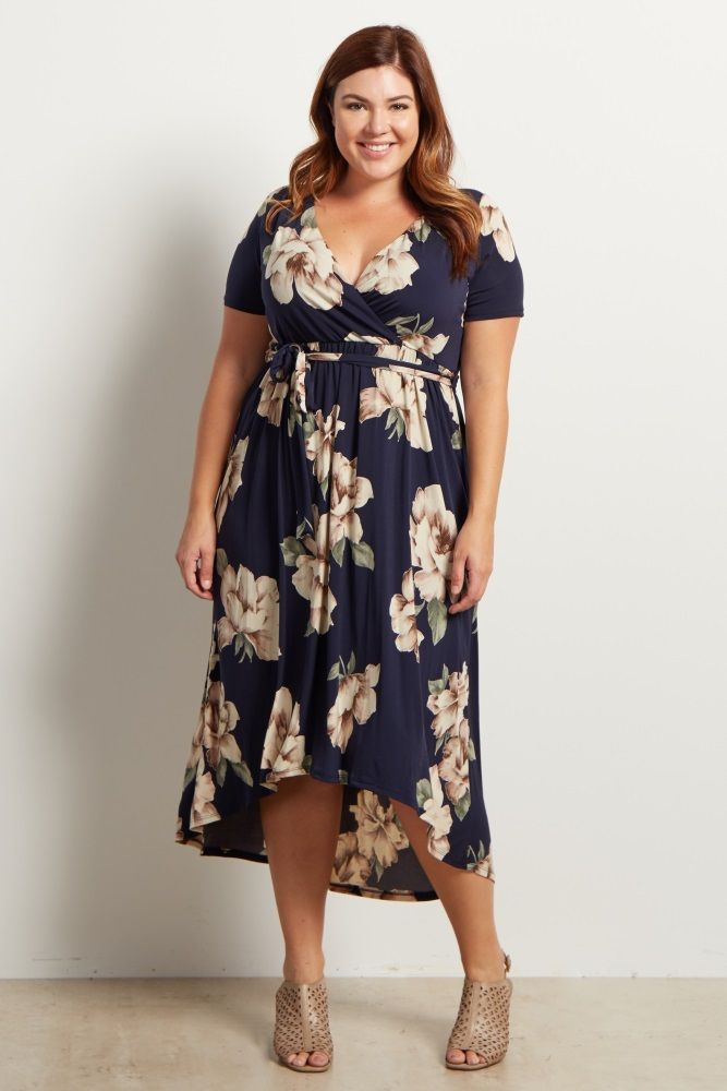 Light Pink Floral Hi-Low Midi Plus Dress | Navy blue, Navy and Floral