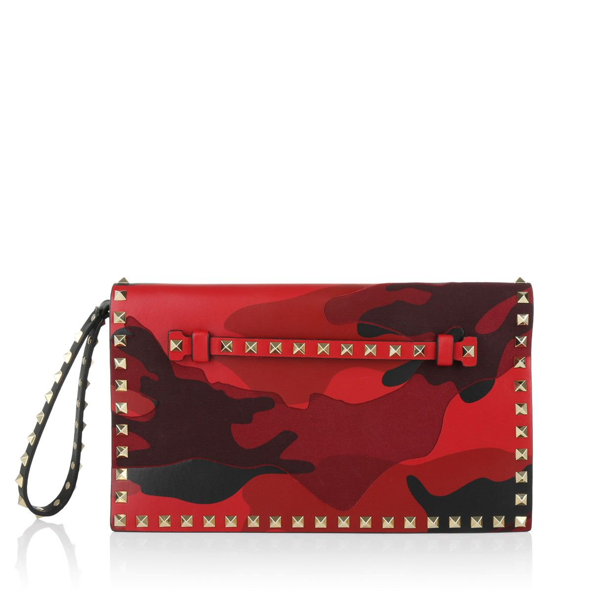 Rocks! Valentino Garavani Rockstud Clutch in red camo!!! Fashionette.de