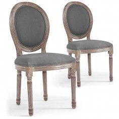 Lot De 2 Chaises De Style Medaillon Louis Xvi Gris Tissu Gris