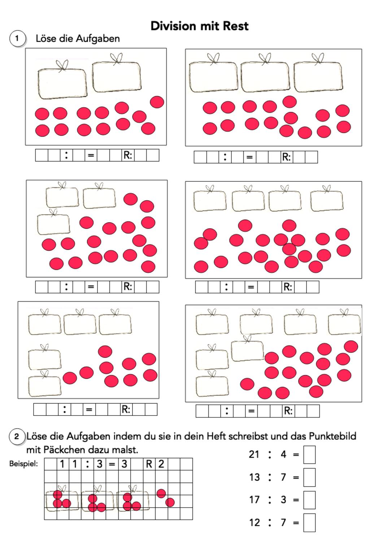 Division mit Rest – Unterrichtsmaterial im Fach Mathematik in 20 ...