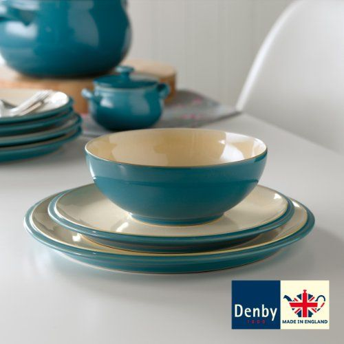 NEW 12 Piece Denby Cook u0026 Dine Stoneware Dinnerware Dinner Box Set Plates Bowls & Denby Cook and Dine Turquoise 12 Piece Dinnerware Set Denby http ...
