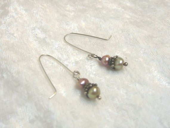 Pink and Golden Pearl Earrings Solid Sterling by jpatterson312, $20.00