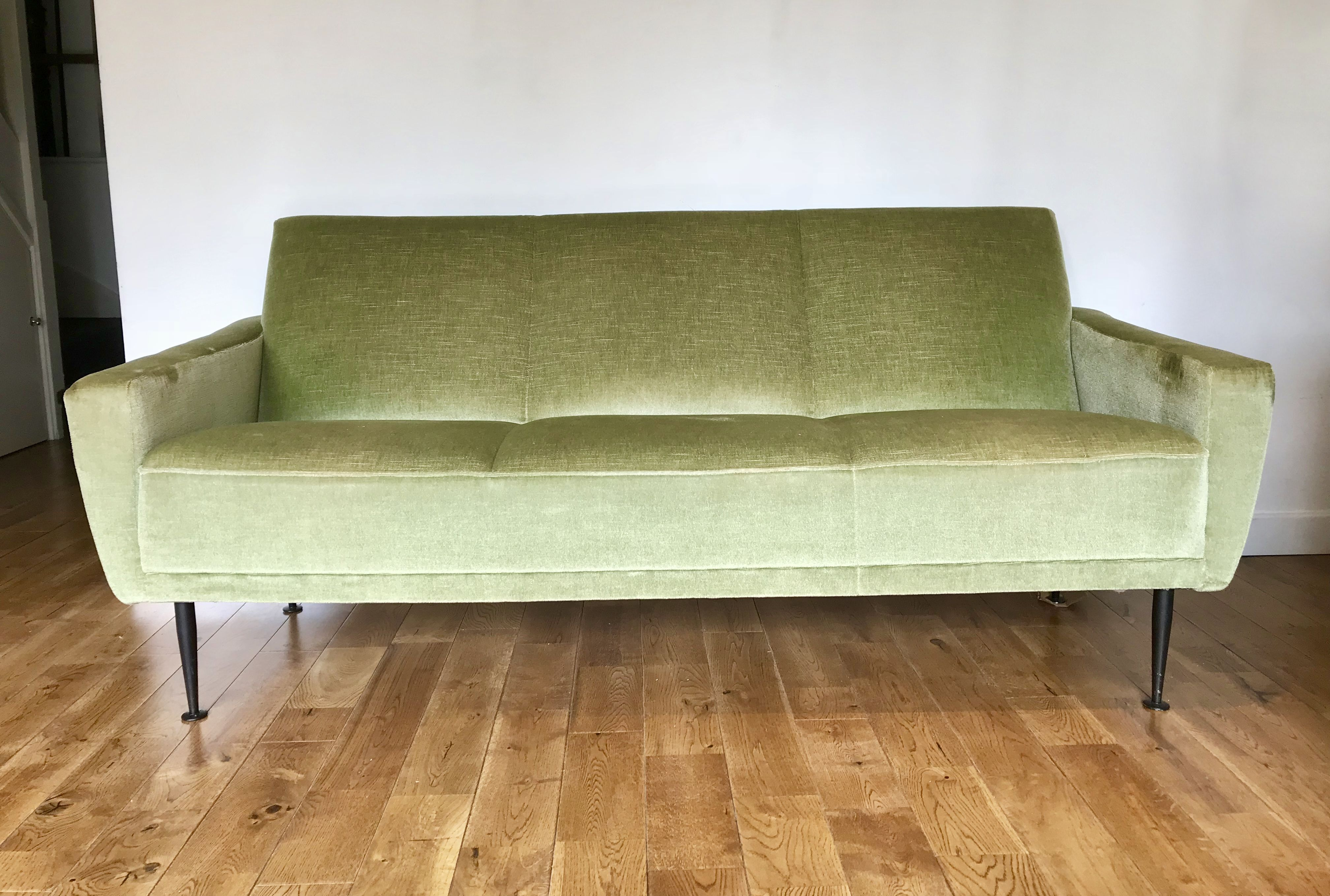 Retro Sofa Wood Vintage Retro Sofa Settee Green Velvet French Vintagefurniture