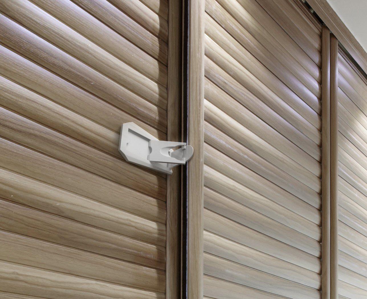 SB22 Sliding Door Lock, Grey/White 2 Pack Sliding