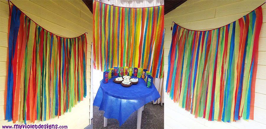cortina de tiras de colores en tnt