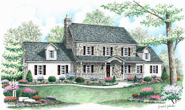 stone colonial House Plans | ... and master suite. This stone ...