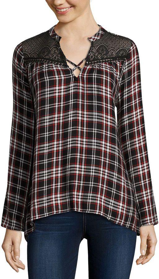 Self Esteem Long-Sleeve Plaid Lace-Yoke Flyaway Shirt