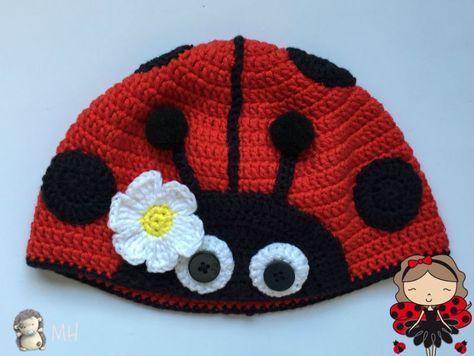 Gorro mariquita a crochet | tejido | Pinterest | Mariquita, Gorros y ...