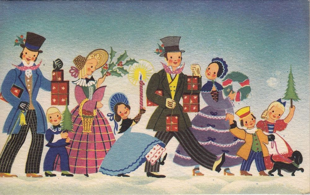 Vintage Greeting Card Christmas BROWNIE Old-Fashioned People Dickens v320