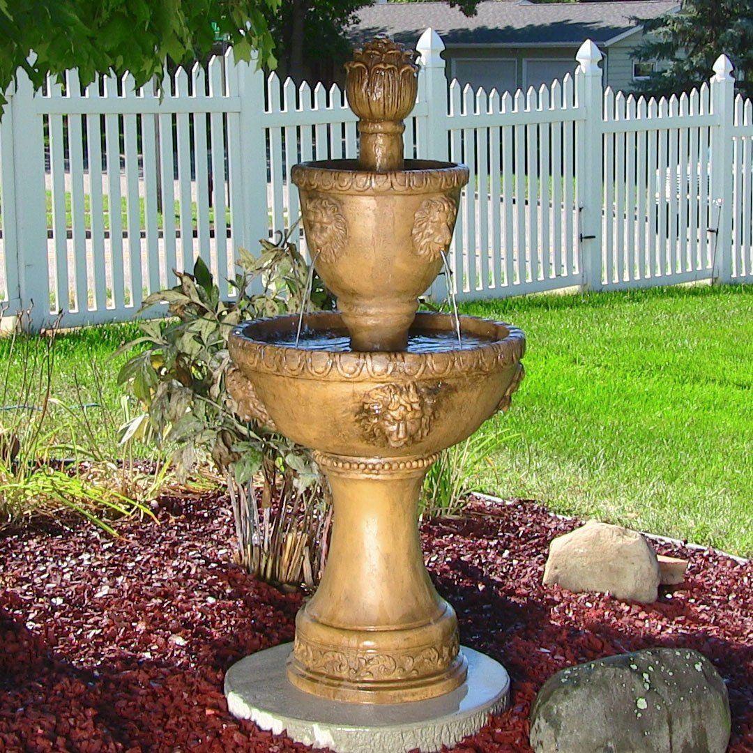 Amazon.com : Sunnydaze 2 Tier Contemporary Lion Outdoor Water Fountain, 46  Inch