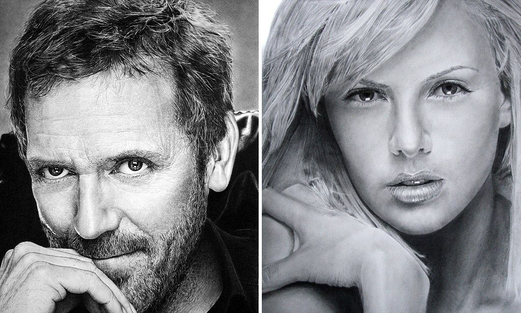 The stunningly realistic images of the likes of Johnny Depp and Charlize Theron were created by Franco Clun using a simple lead pencil.