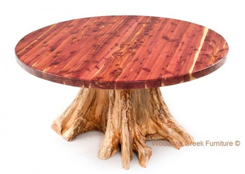 Round Red Cedar Log Dining Table Available In Custom Sizes To Fit Your Home  By Woodland