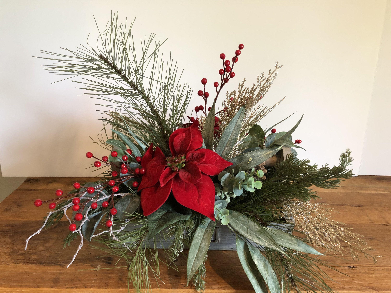 Christmas floral arrangement red poinsettia floral