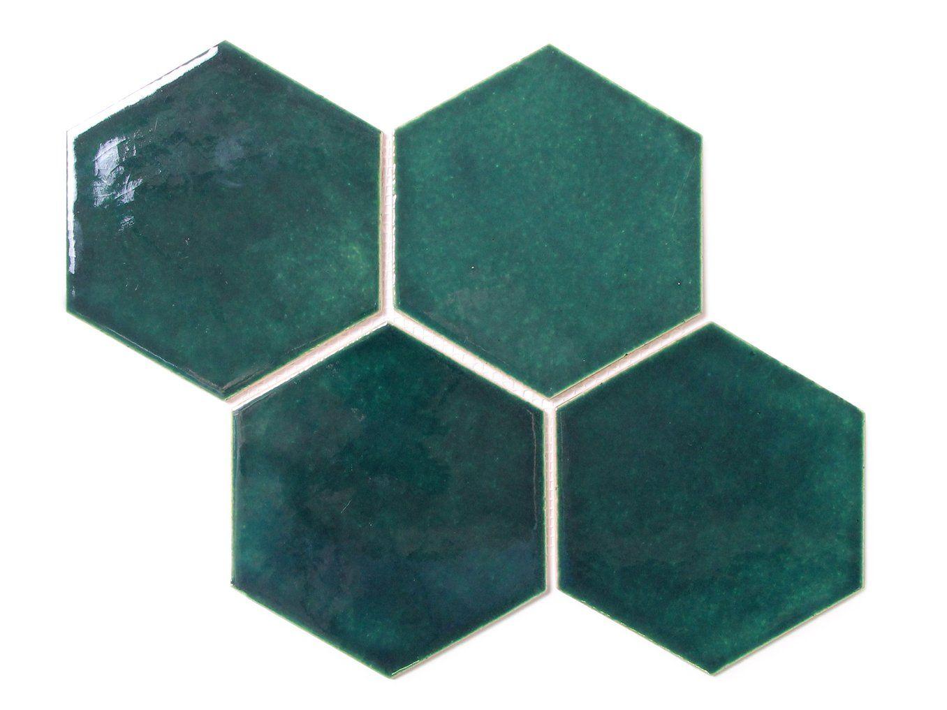 Large Teal Hexagon Tile Teal Hexagon Ceramic Tile Mercury Mosaics Mercury Mosaics Hexagon Tiles Blue Green Tile