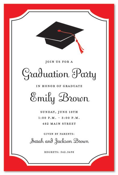 graduation invitations | graduation red border graduation party, Party invitations