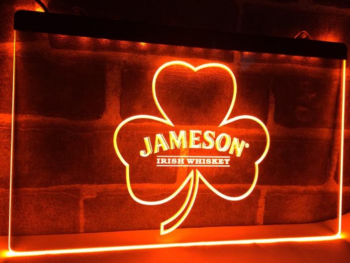 TM Jameson Whiskey Shamrock Neon Light LED Sign | Jameson