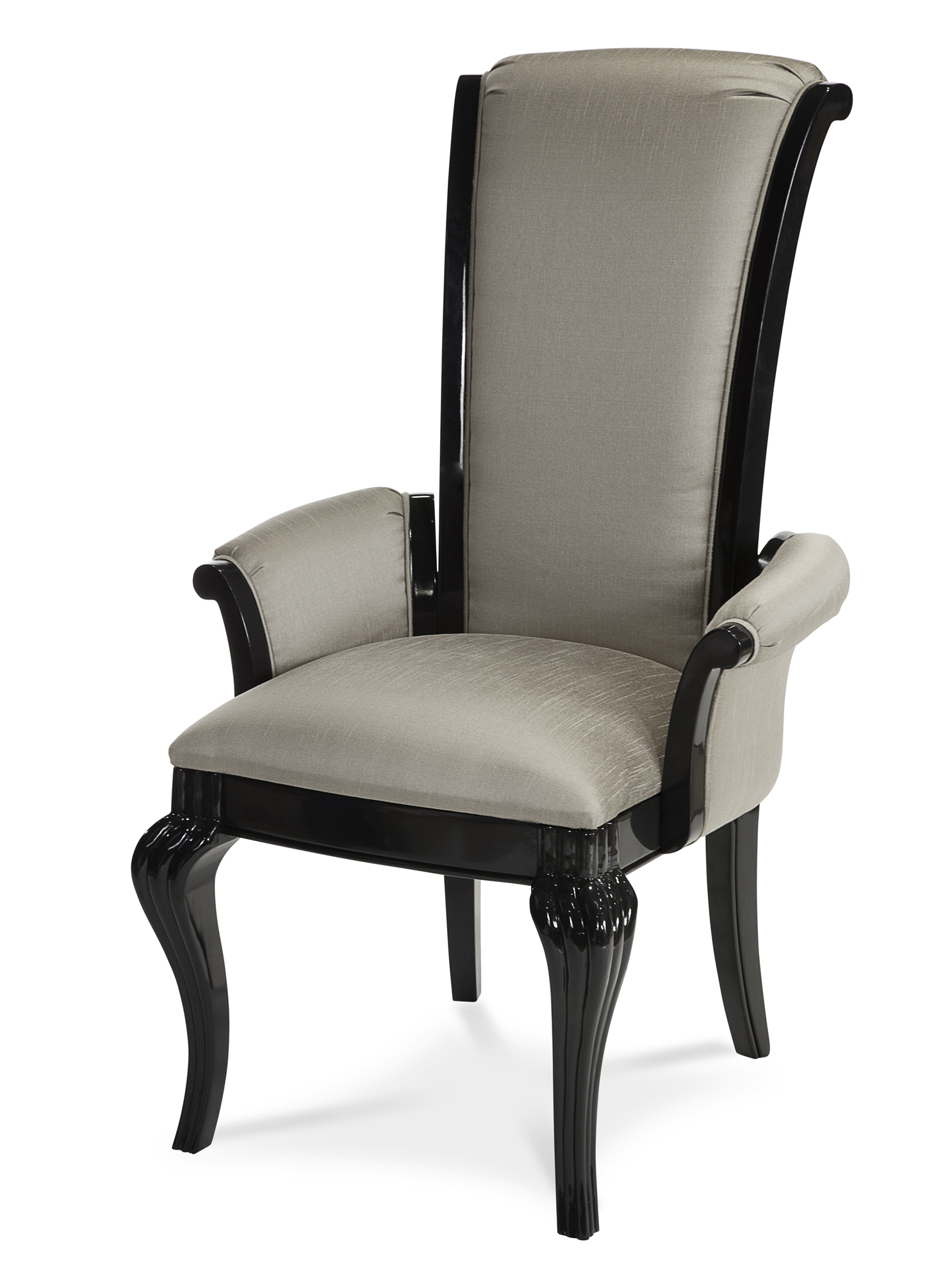 Hollywood Swank Dining Arm Chair In Graphite Aico Home