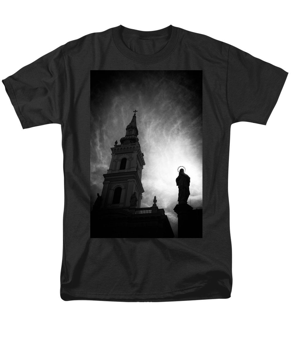 Purchase an adult t-shirt featuring the image of Church With Jesus Statue Black And White by Matthias Hauser.  Available in sizes S - 4XL.  Each t-shirt is printed on-demand, ships within 1 - 2 business days, and comes with a 30-day money-back guarantee. Also availabe in a women and youth version. Matthias Hauser hauserfoto.com