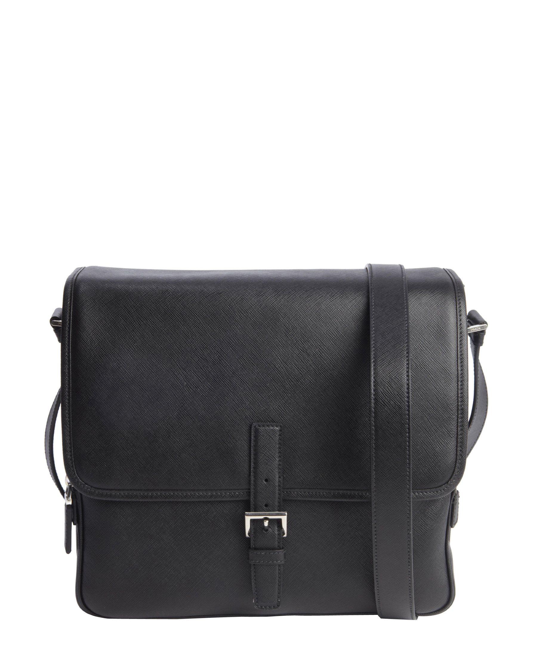 6c46125784 Prada black saffiano leather messenger bag